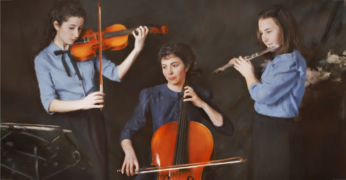 Three sisters portrait, musician portrait,