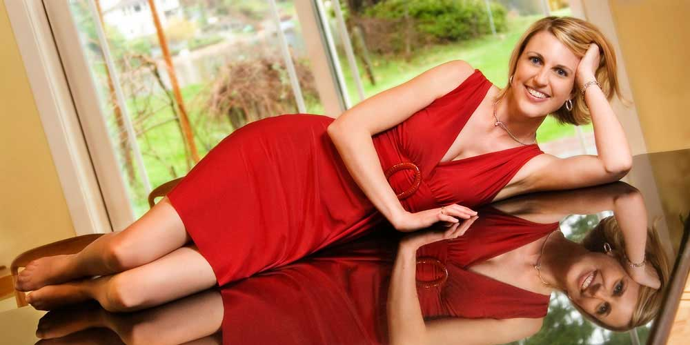 Model in red dress, in home model photo