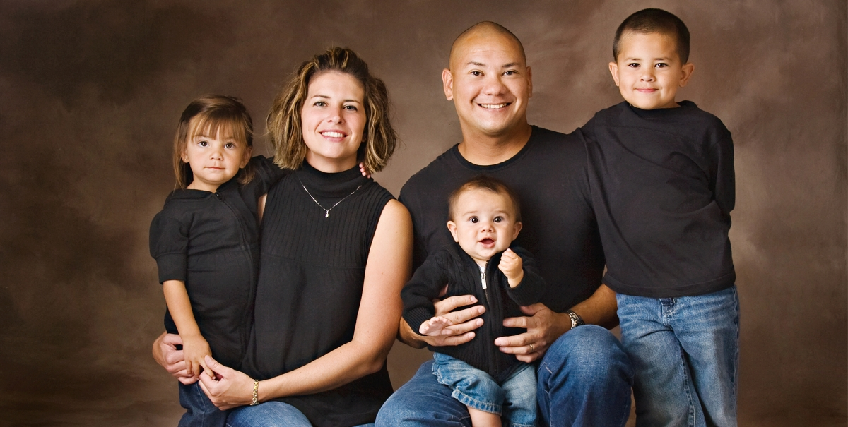 Studio family portrait, indoor family portrait